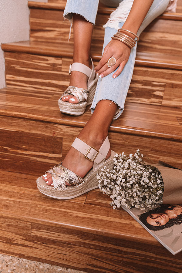 The Faye Snake Print Wedge In Birch