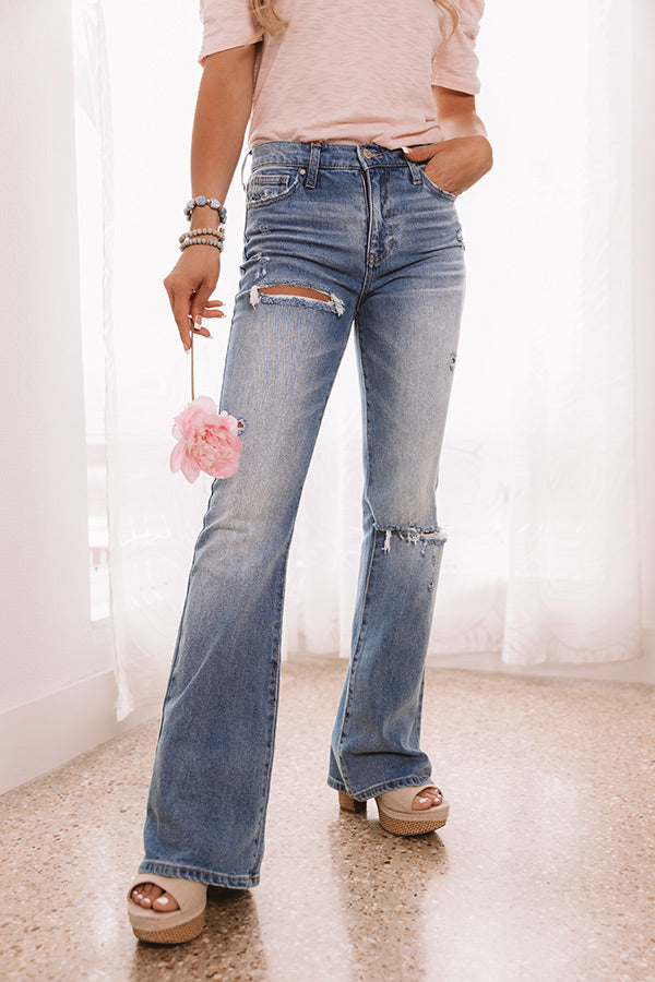 The Larkin High Waist Distressed Flare