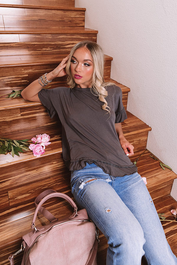 Venice Beach Boardwalk Shift Top In Charcoal