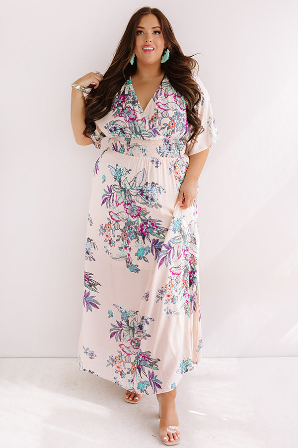 Feeling Decadent Floral Maxi Dress in Peach