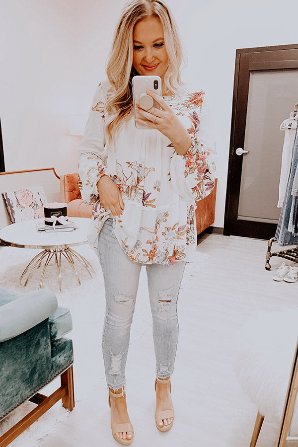 Floral Spell Shift Top In Ivory