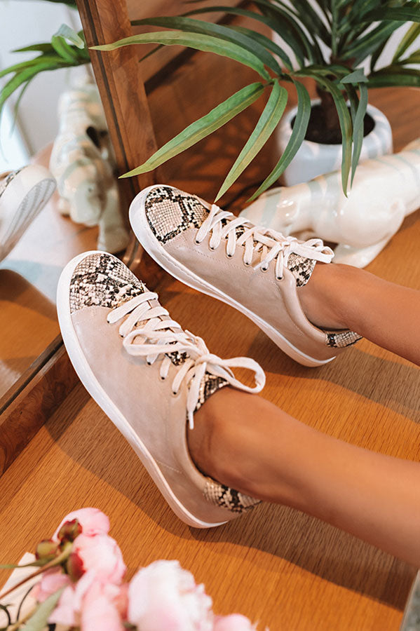 The Ellie Snake Print Sneaker In Birch