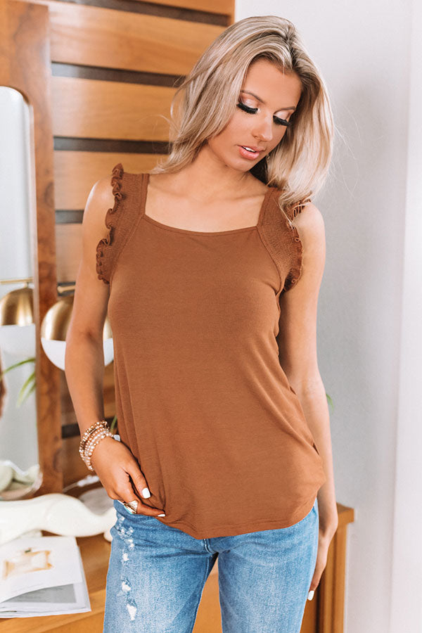 Feeling Fantastic Ruffle Shift Tank in Chocolate