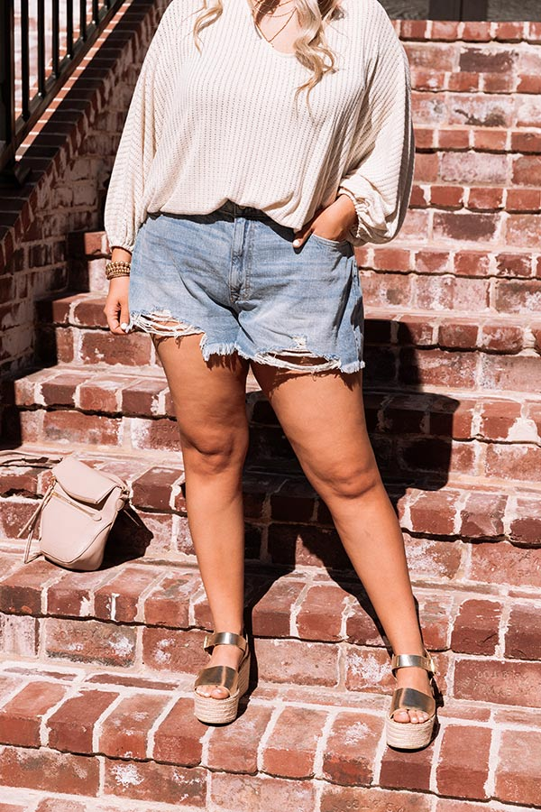 The Jude High Waist Distressed Shorts in Medium Wash
