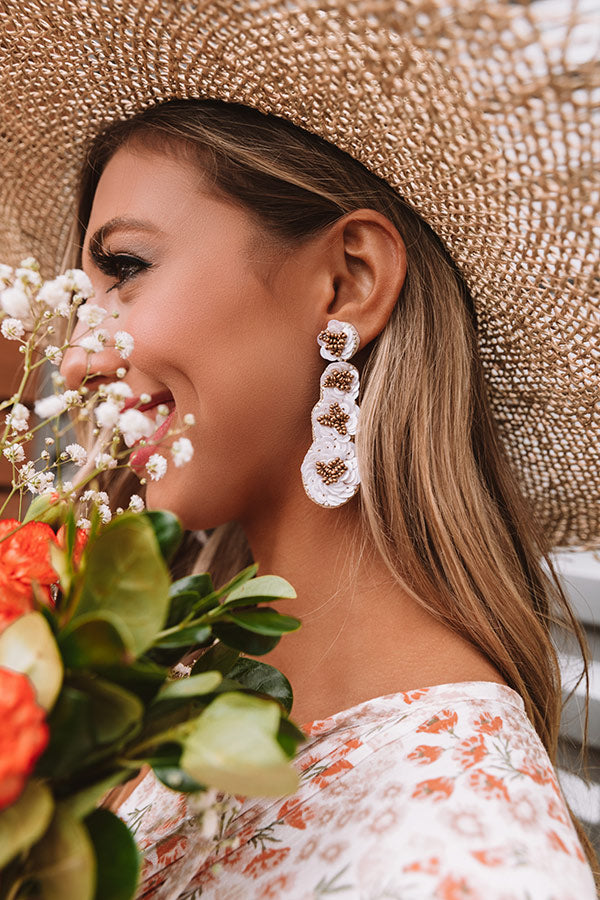 Breezy Blooms Earrings In White