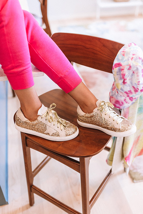 Shine Brighter Glitter Sneaker In Gold