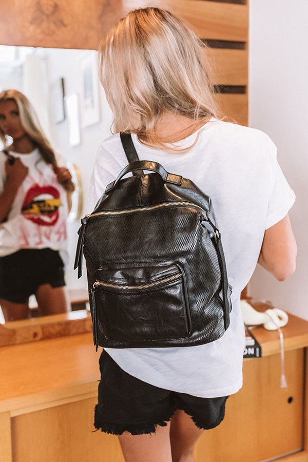 The Essential Faux Leather Backpack In Black