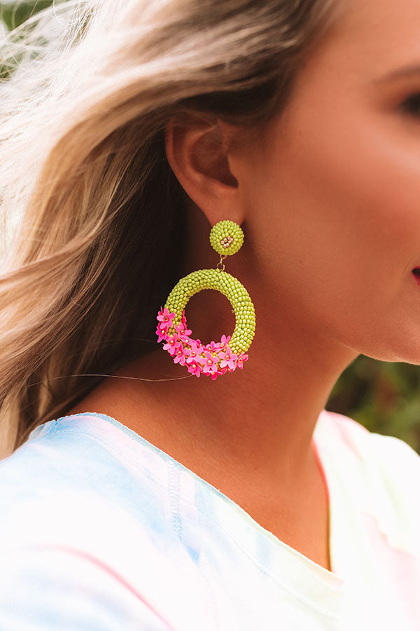 On Tiki Time Beaded Earrings In Lime Punch