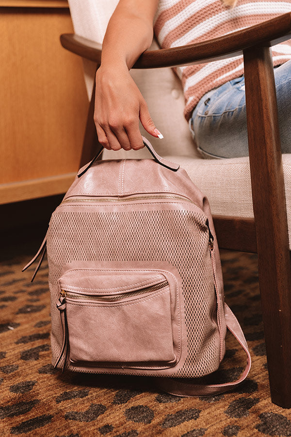 The Essential Faux Leather Backpack In Blush