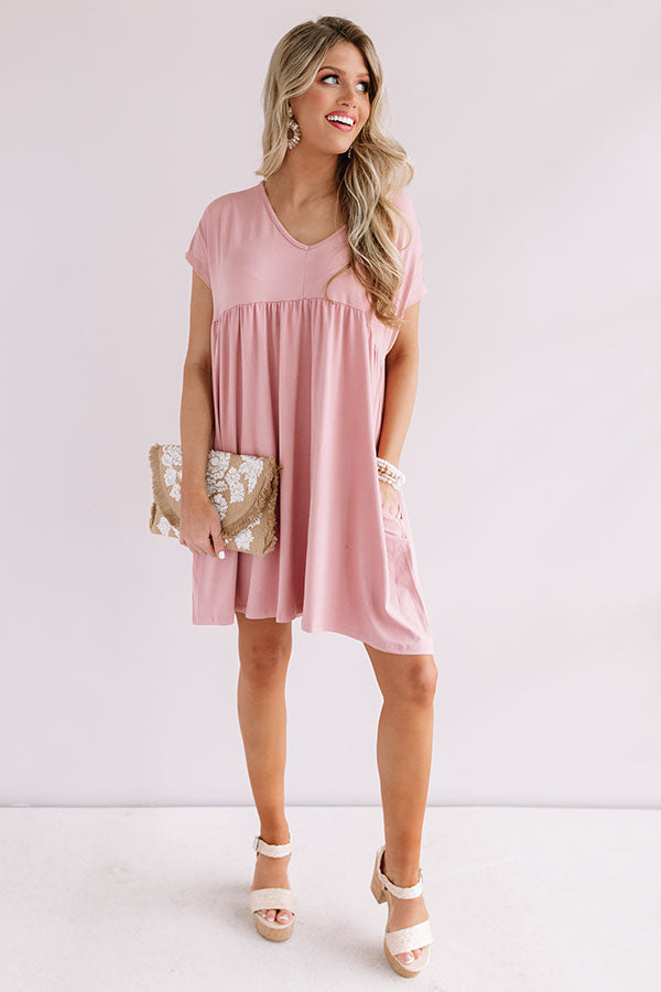 Dunes And Daydreams Babydoll Dress In Blush
