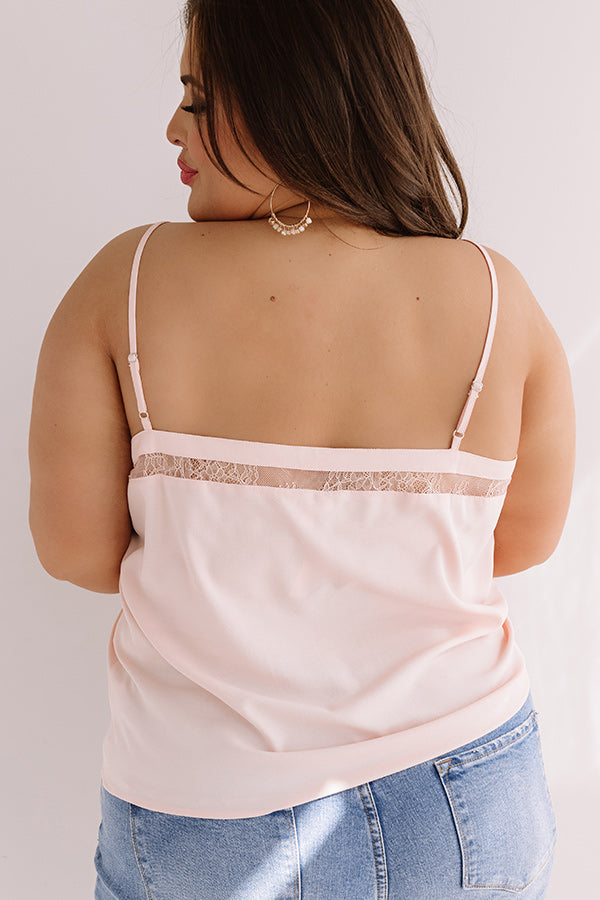 Croissants And Kisses Lace Tank In Baby Pink