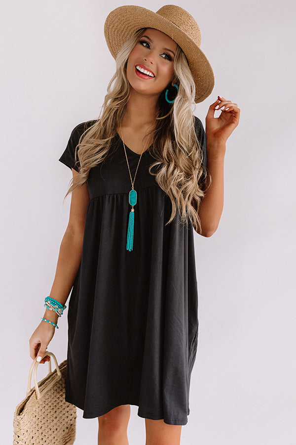 Dunes And Daydreams Babydoll Dress In Black