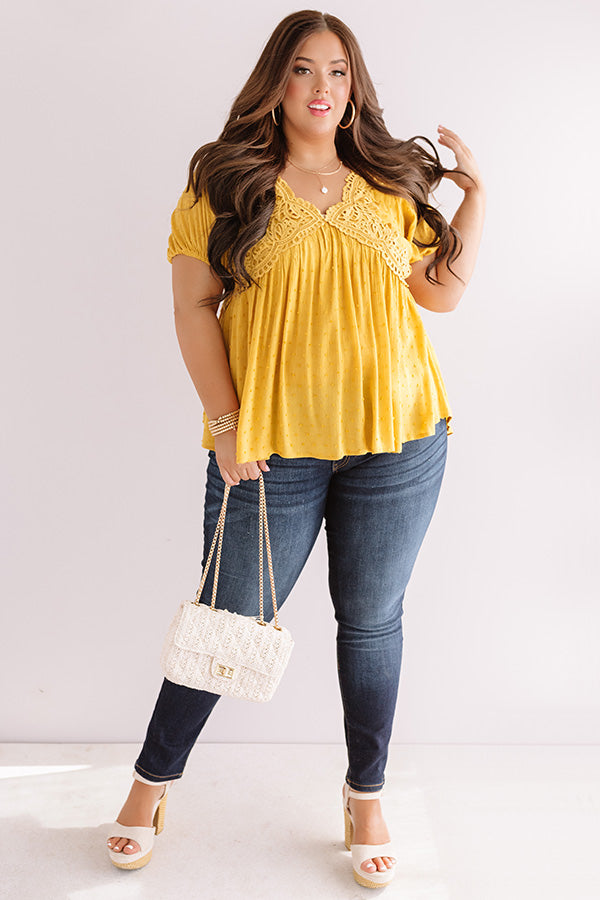 Here's To Happiness Babydoll Top In Marigold