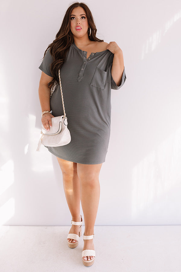 Weekend Bliss Henley Shift Dress In Charcoal
