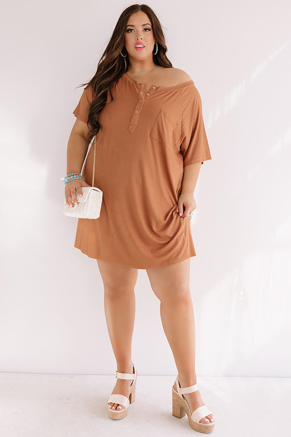 Weekend Bliss Henley Shift Dress In Camel
