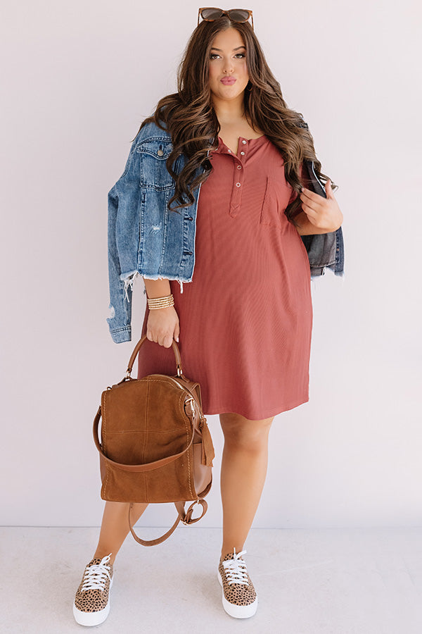 Weekend Bliss Henley Shift Dress In Dark Rust