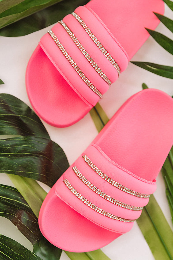 The Cleo Rhinestone Children's Sandal in Neon Pink