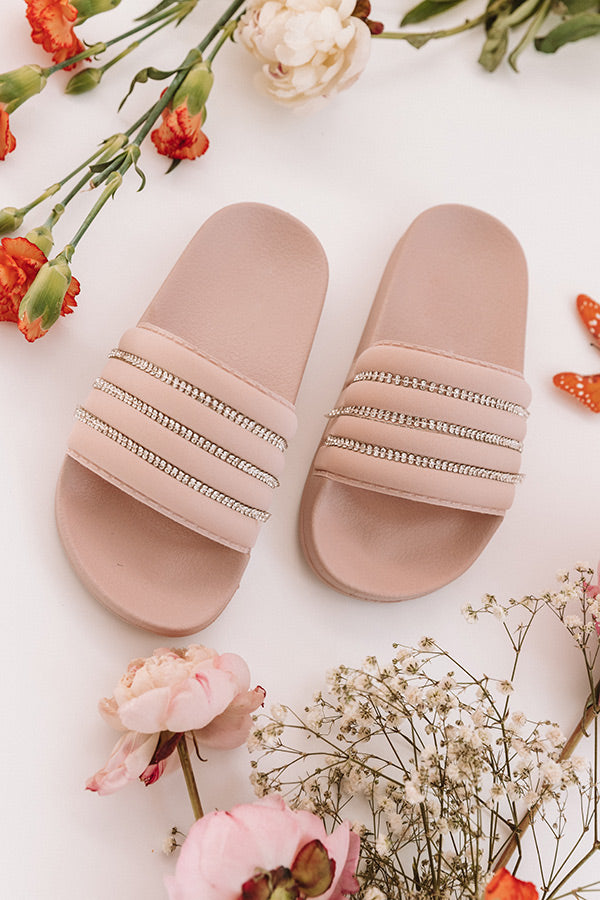 The Cleo Rhinestone Children's Sandal in Blush