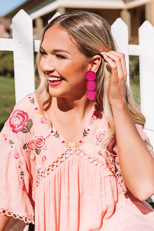 Positano Party Beaded Earrings in Hot Pink