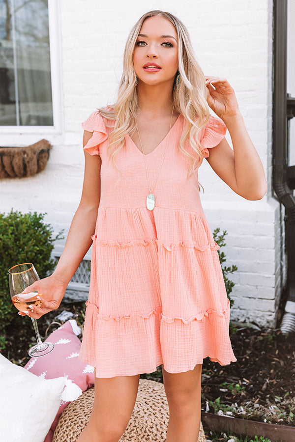 On Tiki Time Shift Dress In Peach