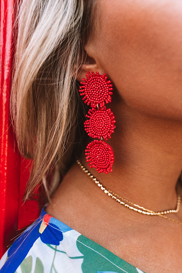 Positano Party Beaded Earrings in Red