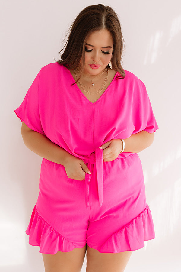 Cali Chick Romper In Hot Pink