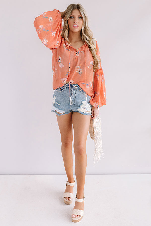 Bali Blooms Shift Top In Peach