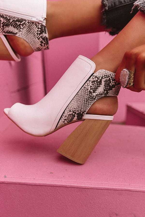 The Lexington Peep Toe Bootie In White
