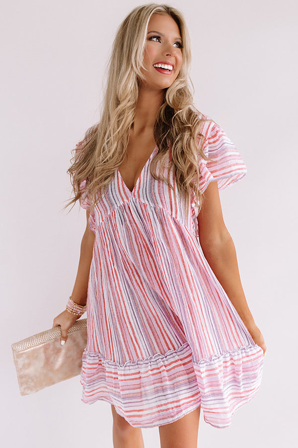 Talk Of The Boardwalk Stripe Babydoll Dress