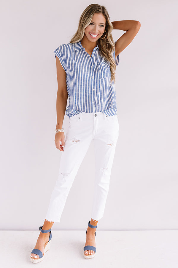 Huntington Beach Stripe Shift Top In Blue