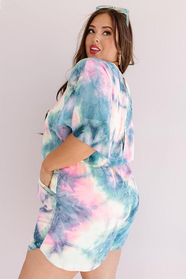 Ocean Water Wishes Tie Dye Romper In Navy
