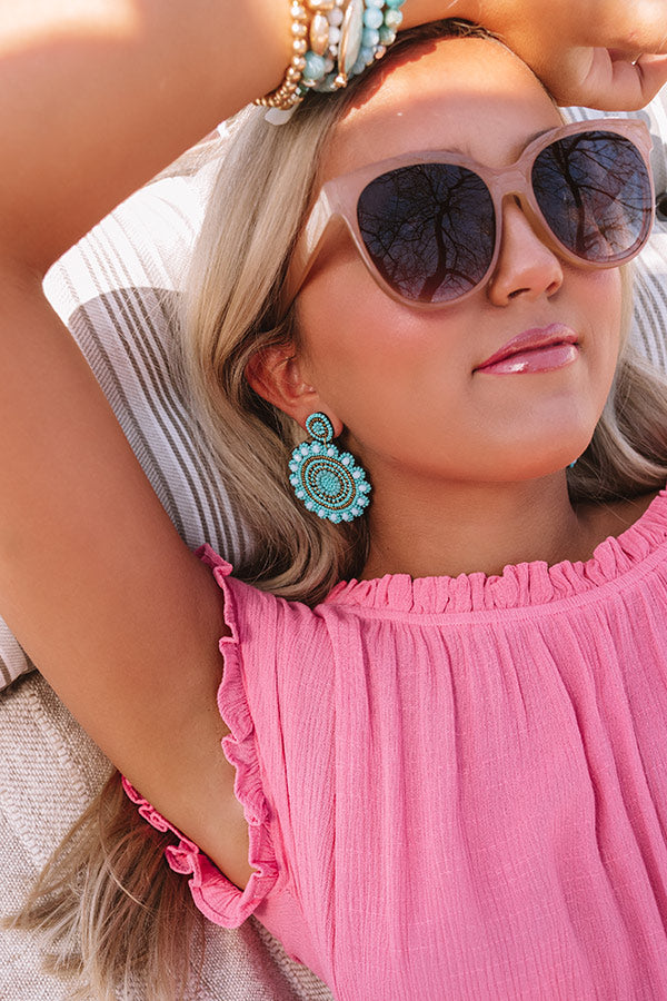 Take Me To Tulum Beaded Earrings in Light Turquoise