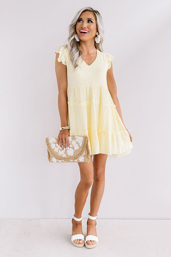 On Tiki Time Shift Dress In Yellow