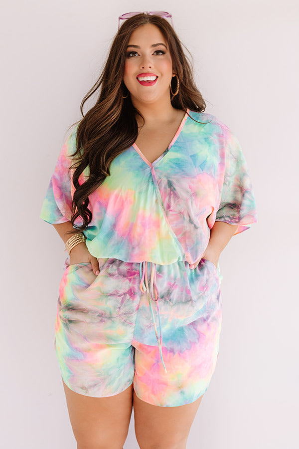 Ocean Water Wishes Tie Dye Romper In Lime Punch