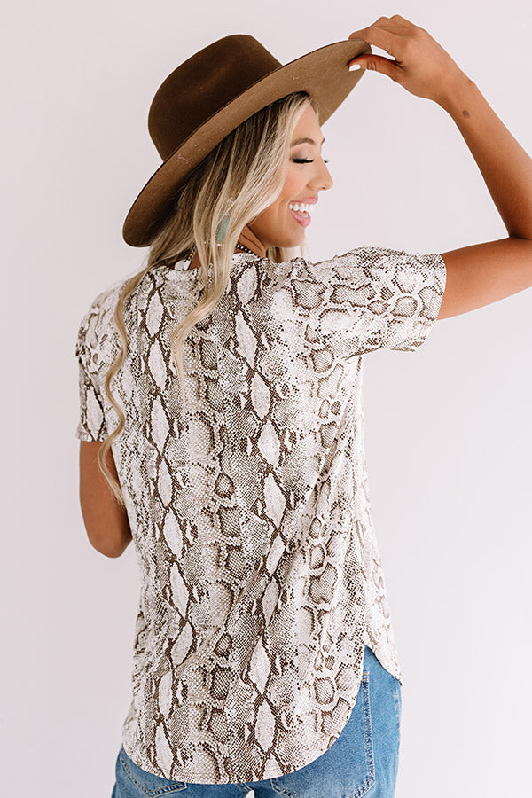 Limelight Lifestyle Snake Print Shift Top In Brown