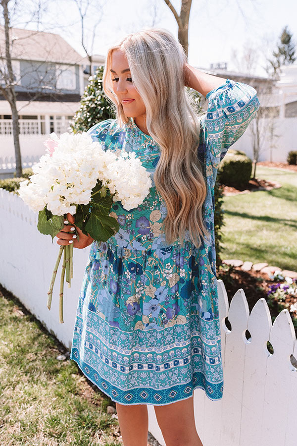 Fiji Sunset Floral Shift Dress In Turquoise