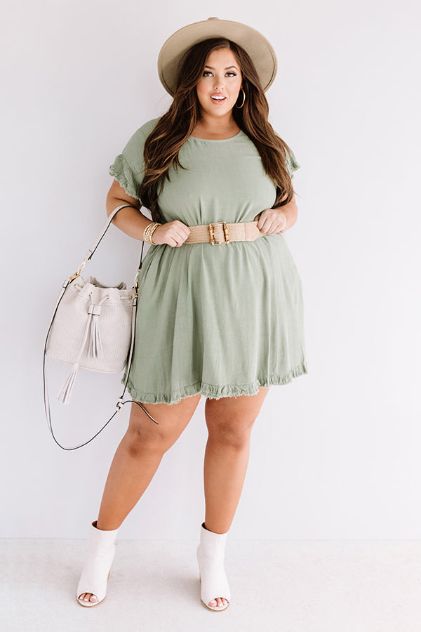 Treading Lightly Shift Dress In Pear