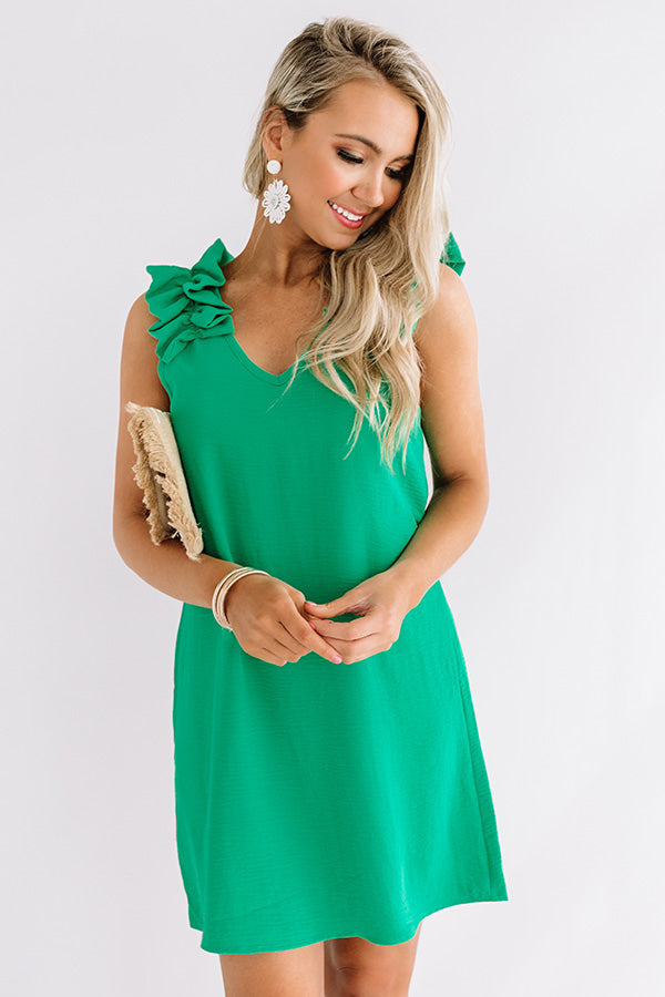 Song And Dance Ruffle Shift Dress In Kelly Green