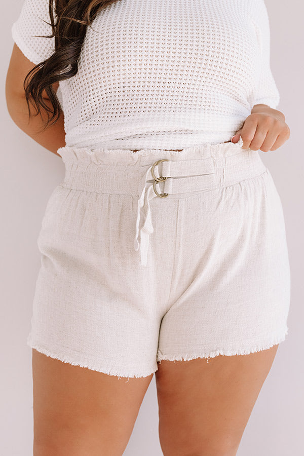 St. Barts Babe High Waist Frayed Shorts in Stone