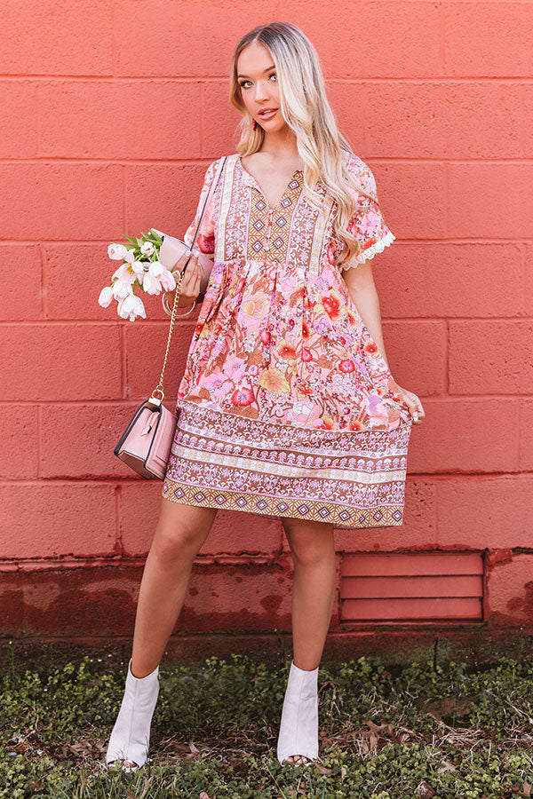 Tulum Treat Floral Shift Dress In Pink