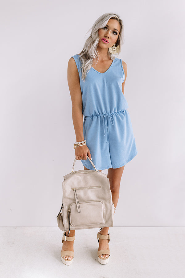 Sipping At Sunset Romper In Airy Blue