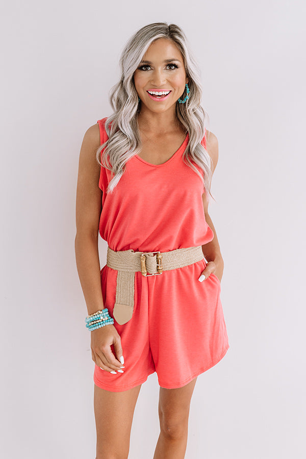 Sipping At Sunset Romper In Coral