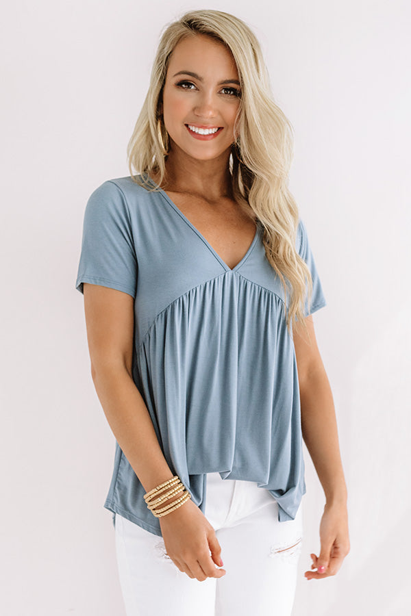 Modern Muse Babydoll Top In Airy Blue