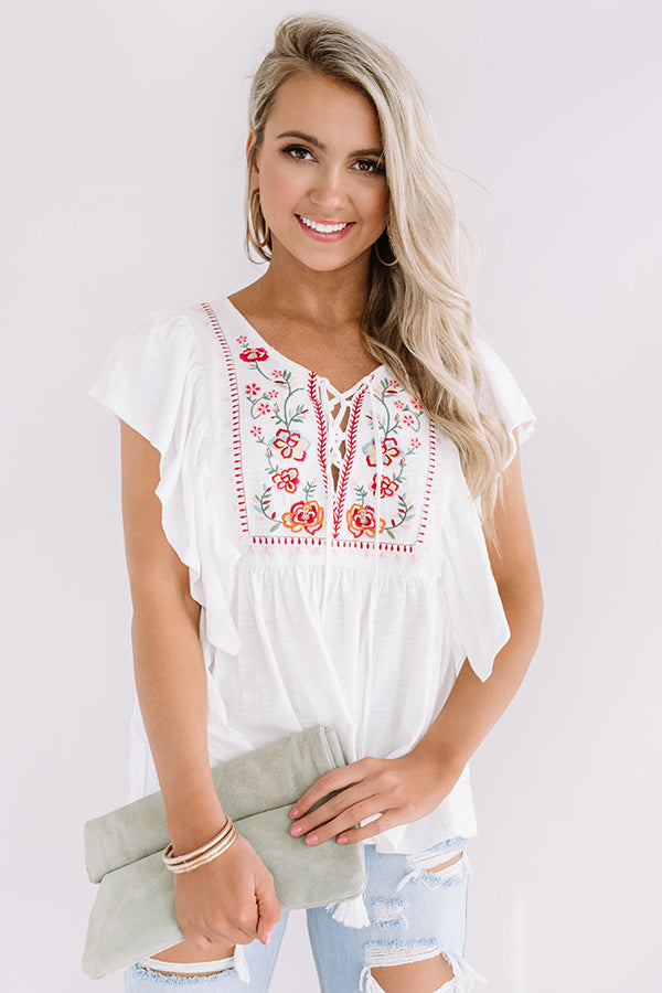 Passport Ready Embroidered Top