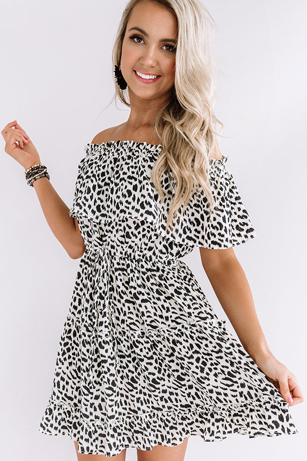 Maldives Moment Off Shoulder Leopard Dress
