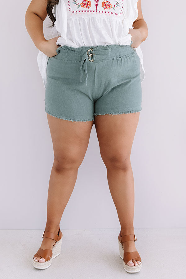 St. Barts Babe High Waist Frayed Shorts in Pear