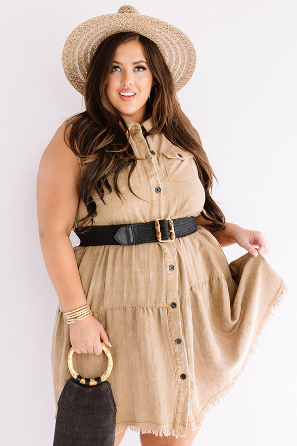 Text You Later Shift Dress In Brown
