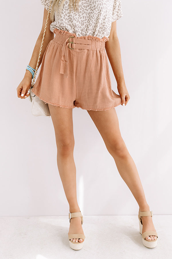 St. Barts Babe High Waist Frayed Shorts in Latte
