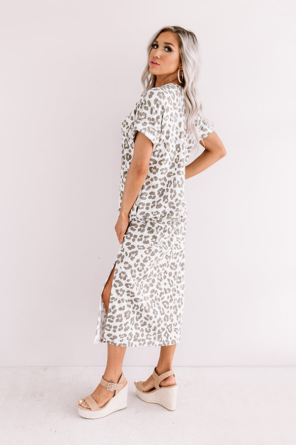 One Wish Away Leopard Midi in Grey