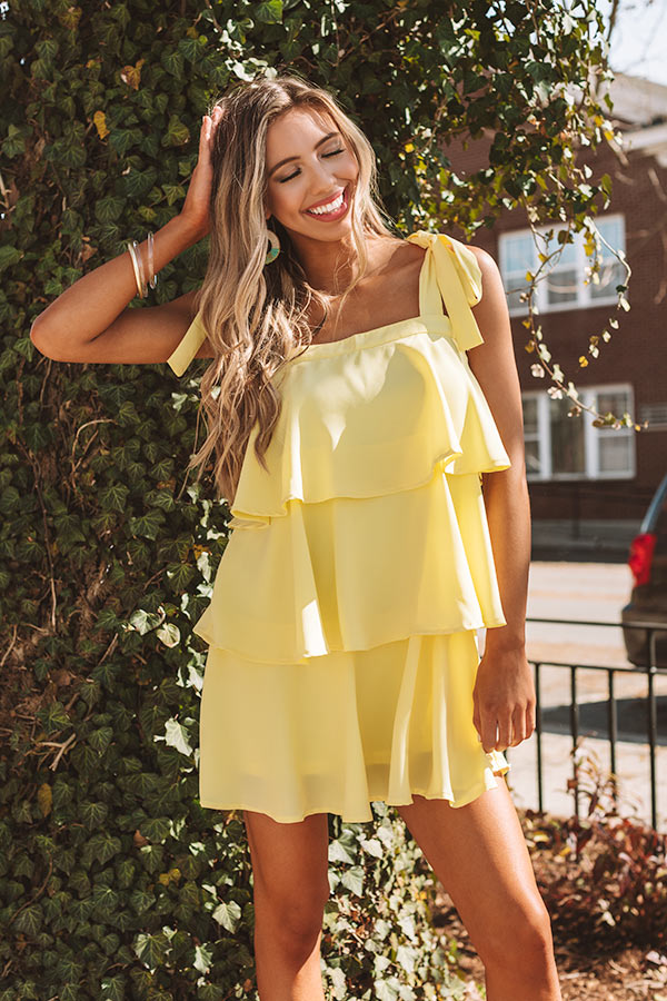 Tier Comes The Sun Shift Dress In Yellow